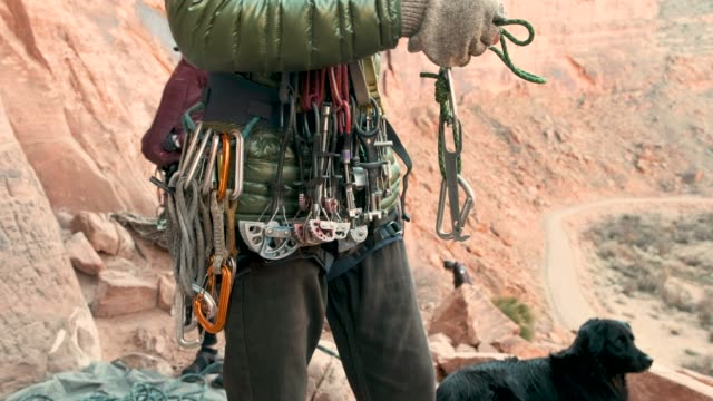 rock climbing in moab utah - climbing equipment stock videos & royalty-free footage