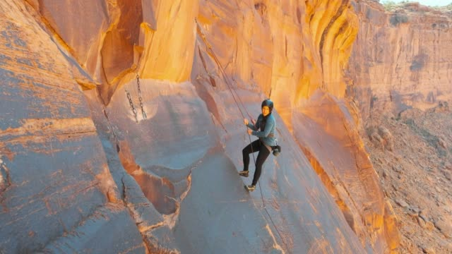 rock climbing in moab utah - red rocks stock videos & royalty-free footage
