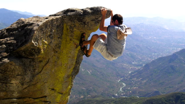 rock climbing in mountains - fallimento video stock e b–roll