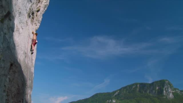 hd crane: rock climbing - crane shot stock videos & royalty-free footage
