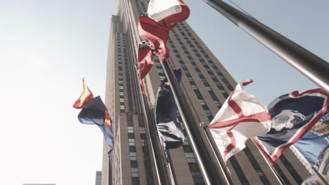 vídeos de stock, filmes e b-roll de 30 rock establishing shot, new york city - centro rockefeller
