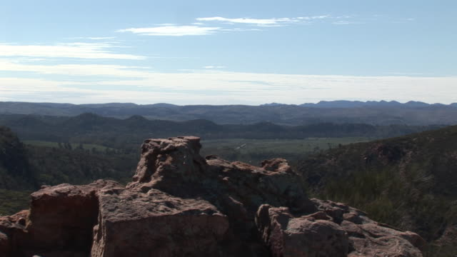 ms rock formationa with wilpena pound in background, flinders ranges national park, south australia, australia - felsformation stock-videos und b-roll-filmmaterial