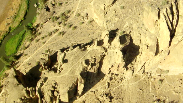 MS AERIAL Rock formations and ridges of Smith Rock / Terrebonne, Oregon, United States