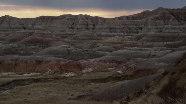 WS, PAN, Rock formations at Badlands National Park at dusk, South Dakota, USA