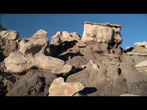 rock formations in badlands of bisti/de-na-zin wilderness area / new mexico - レターボックス点の映像素材/bロール