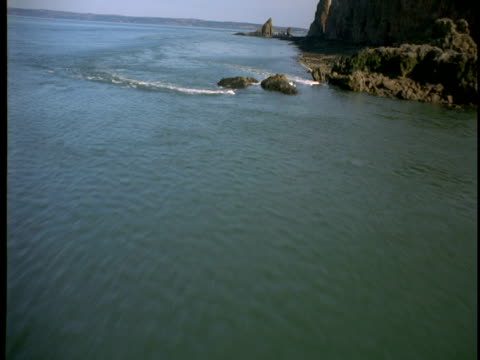 Rock formations jut out of the Bay of Fundy near coastal cliffs.
