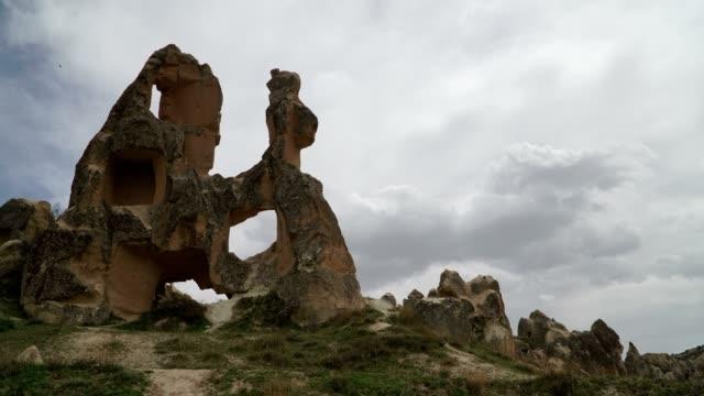 rock hoodoo and cloudy sky - rock hoodoo stock videos & royalty-free footage