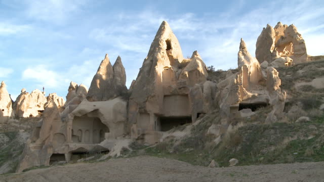 rock houses in cappadocia, turkey - cappadocia stock videos and b-roll footage