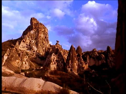Rock houses scatter across fairy chimney rock formations in Cappadocia, Turkey.