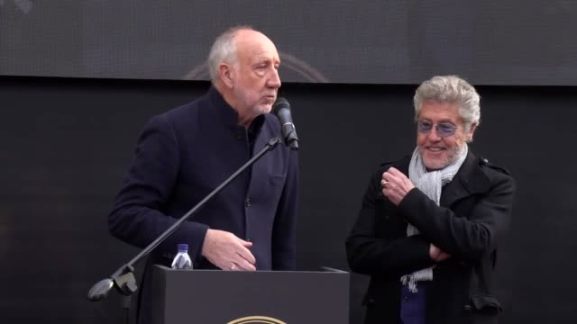 rock legends the who are unveiled as the first act in britain to receive a stone on the music walk of fame at an event in camden town. frontman roger... - roger daltrey stock videos & royalty-free footage