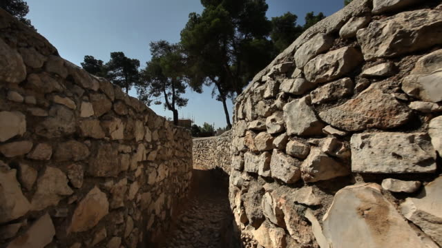 rock lines a trench at ammunition hill in jerusalem, israel. - six day war stock videos & royalty-free footage
