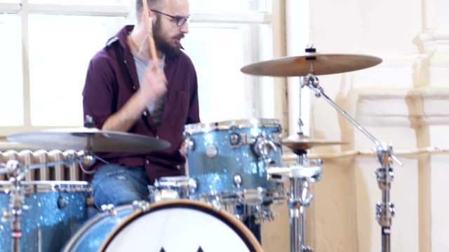 rock music band on rehearsal - drummer stock videos & royalty-free footage