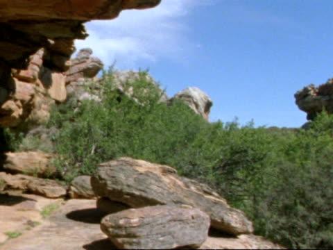 vidéos et rushes de rock painting cave, pan left, namaqualand, south africa - grès