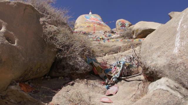rock painting in drepung monastery, lhasa, tibet - rock strata stock videos & royalty-free footage
