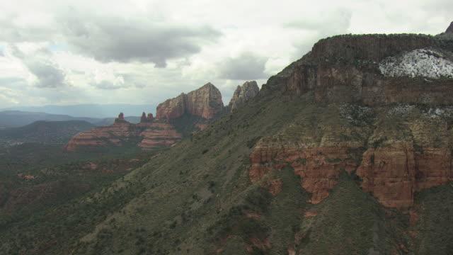 WS AERIAL Rock pinnacles in canyon / Sedona, Arizona, United States