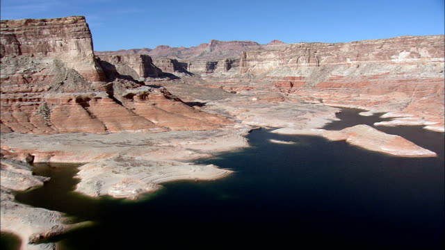 rock shapes around lake powell  - aerial view - utah,  san juan county,  united states - lake powell stock videos & royalty-free footage