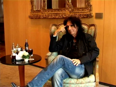 rock singer and musician alice cooper famous for gothic stage shows with guillotines electric chairs and fake blood plans to take the montreux jazz... - montreux stock videos and b-roll footage