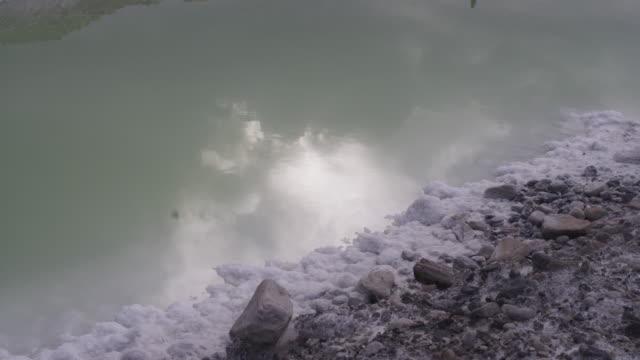 Rock thrown in Utah salt lake, slow motion