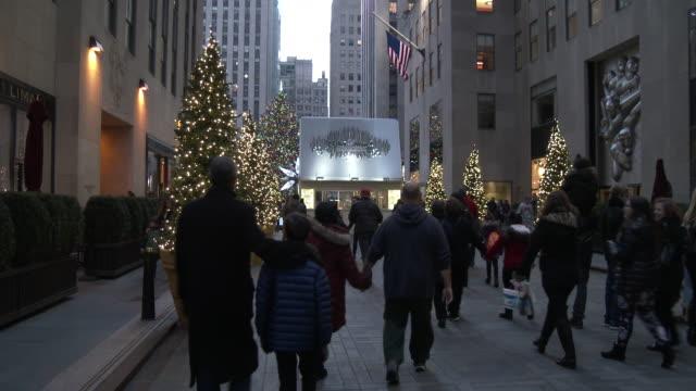 rockefeller center christmas tree - holiday shoppers, tourists - ロックフェラーセンターのクリスマスツリー点の映像素材/bロール
