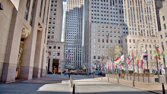 rockefeller center empty. sunrise. reopening the economy - rockefeller center stock videos & royalty-free footage