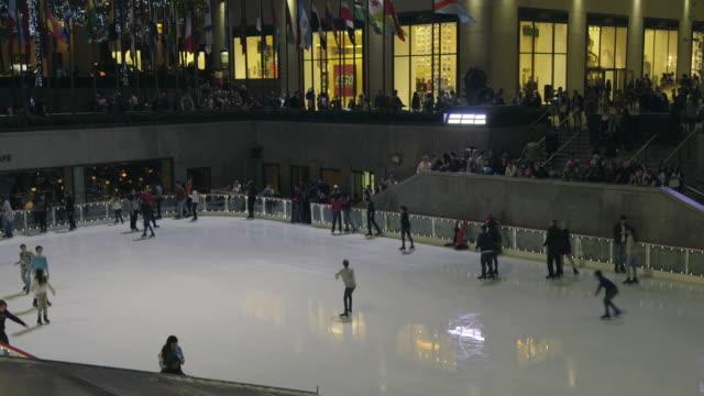 rockefeller center ice rink - rockefeller centre stock videos & royalty-free footage