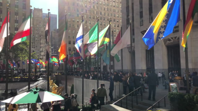 rockefeller center in new york city - national flag stock videos & royalty-free footage
