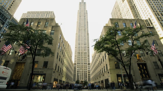 rockefeller center - time lapse - rockefeller center video stock e b–roll