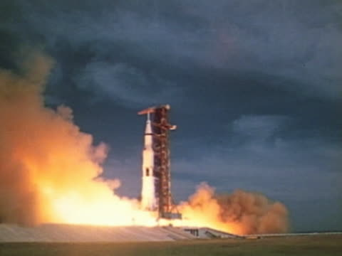 Rocket lifting off from launch pad