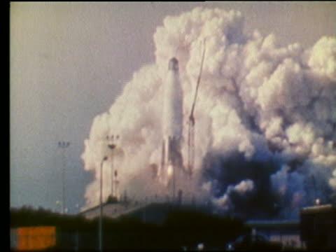 Rocket making shaky blastoff from launch pad