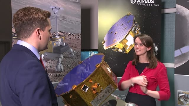 stockvideo's en b-roll-footage met rocket on mission to prove 'gravitational waves' theory; katie hassel interview sot/ airbus defence and space uk staff drinking champagne - franse overzeese gebieden