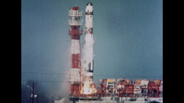 1964 a rocket taking off - rakete stock-videos und b-roll-filmmaterial