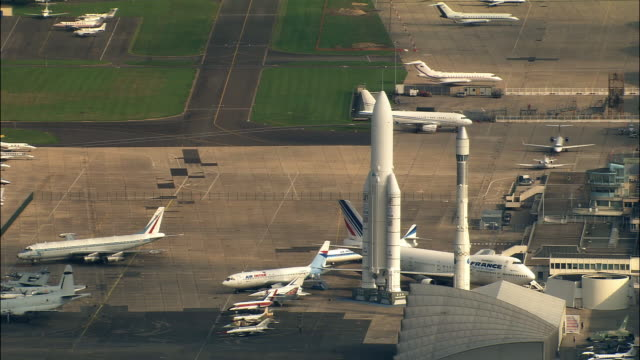 AERIAL rockets and planes at Le Bourget airport/ Paris, France
