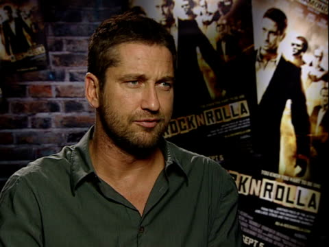 'RocknRolla' film Director and cast interviews Gerard Butler interview SOT On getting into his character and how much he enjoyed it / scene where he...