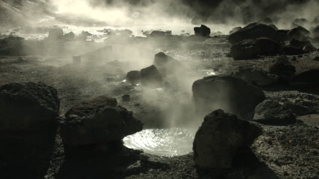 Rockpools of boiling water bubble away at the geothermal area of Reykjanes in Iceland.