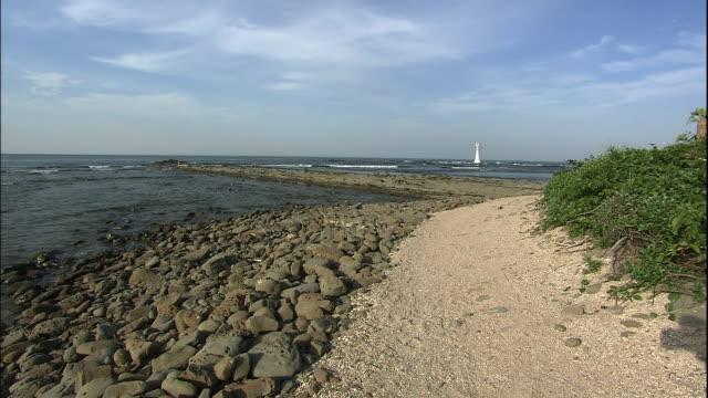 Rocks and foot path and trees on Aoshima island.