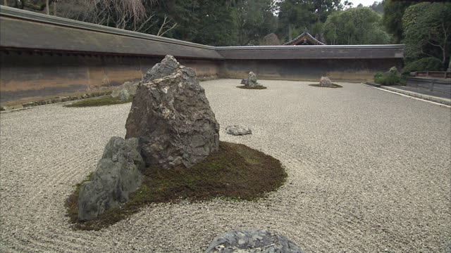 ms rocks in rock garden at ryoan-ji temple, kyoto, japan, - plain stock videos & royalty-free footage