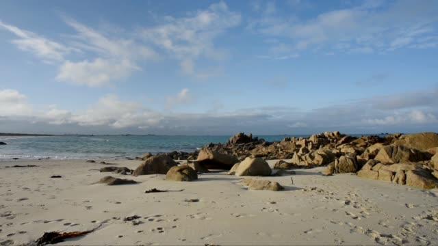 rocks in the sand-keremma - bretagna video stock e b–roll