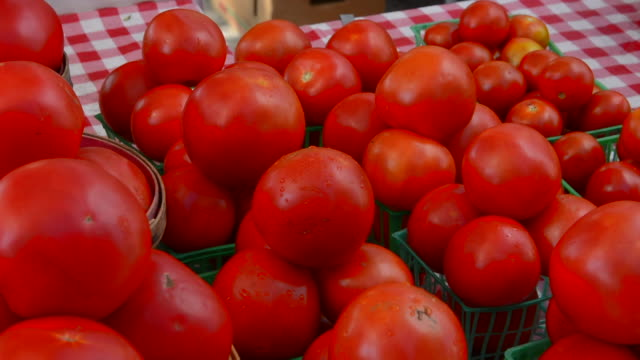 rockwall texas downtown farmers market selling vegetables tomatoes - 繁栄点の映像素材/bロール