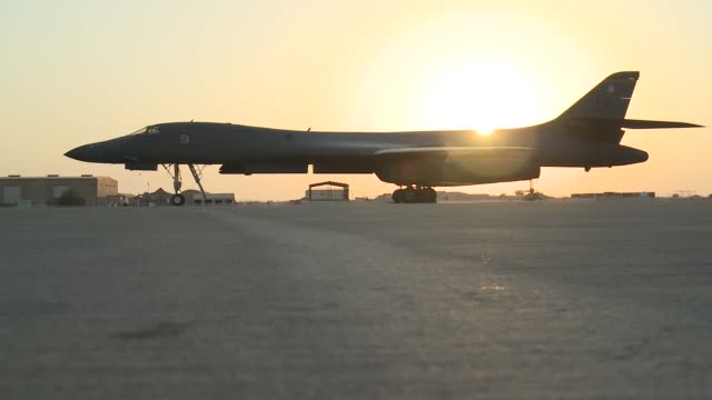 rockwell b1 lancer bomber aircraft supporting operation enduring freedom footage taken at al udeid ab qatar - b rolle stock-videos und b-roll-filmmaterial