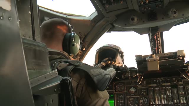 Rockwell B1 Lancer bomber aircraft supporting Operation Enduring Freedom Footage taken at Al Udeid AB Qatar