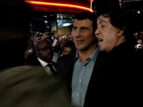 'rocky balboa' premiere: red carpet interviews; stallone along as chats with joe calzaghe joe calzaghe interview sot - rocky has always been an icon... - バンド アメリカ点の映像素材/bロール
