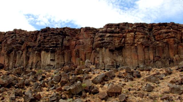 rocky basalt column erosion cliffs broken drive wide steens mountain oregon 9 - natural column stock videos and b-roll footage