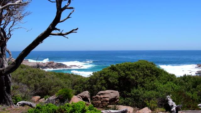 vídeos de stock, filmes e b-roll de baía rochosa na praia de contos perto de margaret river. oceano índico, austrália ocidental - recife fenômeno natural