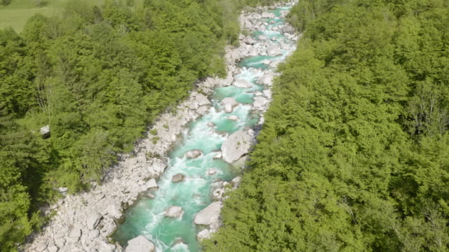 AERIAL Rocky bed of a beautiful mountain river