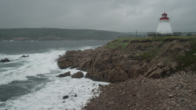 "rocky coast and lighthouse, nova scotia, canada - ""bbc natural history"" stock videos & royalty-free footage"