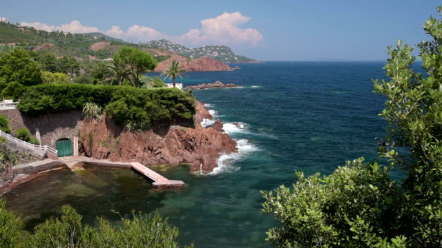 rocky coast at cap roux - var stock videos & royalty-free footage
