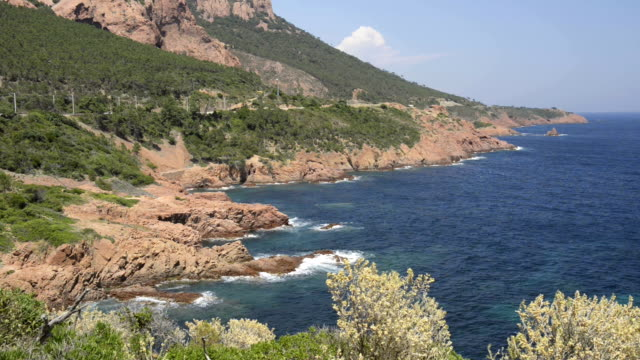 rocky coast of massif de l`esterel - var stock videos & royalty-free footage