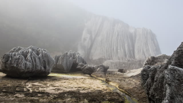 rocky coast washed by fog early in the morning 1 - seascape stock videos & royalty-free footage