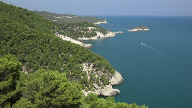 vídeos y material grabado en eventos de stock de rocky coast with white limestone rocks at the adriatic sea - península