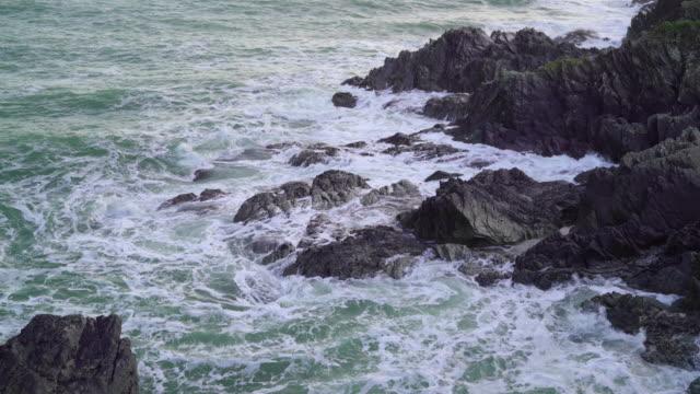 rocky coastline at dusk - cornwall england stock videos & royalty-free footage